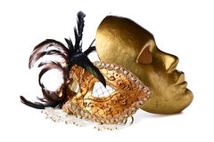 Venetian masks isolated on  white Stock Images