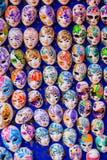 Venetian masks. Large group of generic Venetian masks. Vertical shot Stock Photography