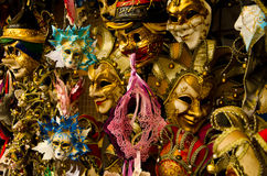 Venetian masks. Lost of venetian masks in variety of colours