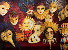 Venetian Masks. An oil painting on canvas of a colorful ornate traditional venetian masks on display, over a dark red curtain vector illustration
