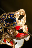 The Venetian masks with ornament over black background Royalty Free Stock Photo