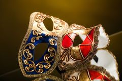 The Venetian masks with ornament over black background Stock Photo