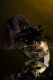 The Venetian masks with ornament over black background Royalty Free Stock Images