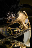 The Venetian masks with ornament over black background Stock Photos