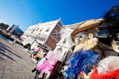 Venetian Masks and Palazzo Ducale Royalty Free Stock Photography