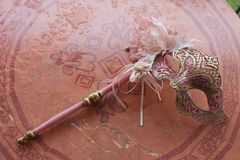Venetian masks in pink tones stock image