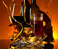 Venetian masks and red wine Stock Photos