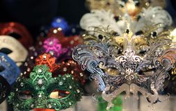 Venetian masks for sale in a shop of Venice Royalty Free Stock Photos
