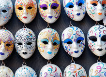 Venetian masks in shop on the Rialto Bridge in Venice, Italy Stock Images