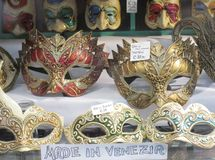 Venetian masks. In a shop of Venice Stock Photo