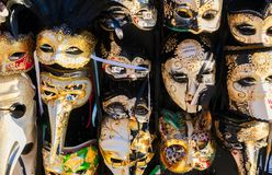 Venetian masks. Stand with traditional Venetian carnival masks, Venice, Italy Stock Image