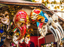 Venetian masks in store display in Venice. Annual carnival in Venice is among the most famous in Europe.  Royalty Free Stock Image