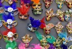 Venetian masks in store display in Venice. Annual carnival in Venice is among the most famous in Europe. Its symbol is the Venetia Stock Images