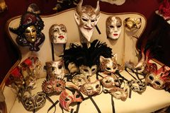 Venetian masks. In Venice, Italy stock illustration