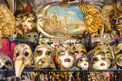Venetian masks. VENICE-AGOUST 26: Venetian masks on agoust 2013. Typical venetian souvenir  mask shop in Venice, Italy Stock Images