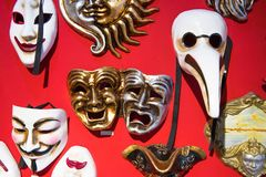 Venetian Masquerade Masks. In the Store stock photography