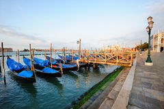 Venetian morning landscape with gondolas Royalty Free Stock Image