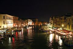 Venetian night. Night view of the Grand Canal from the Rialto Bridge in Venice Stock Images
