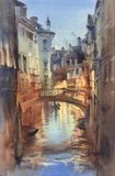 Venetian night lights watercolor landscape. A canal with gondolas under the bridge royalty free illustration