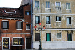 Venetian orange house from canal Stock Image
