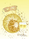 Venetian party. Illustration of a venetian mask, a mirror ball and glasses with sparkling wine Royalty Free Stock Photo
