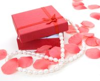 Venetian pearl necklace in gift red box Royalty Free Stock Image