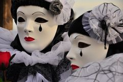 Venetian Pierrot masks. Venetian Mask Pierrot, cover the entire face, realized in papier mache and venetian stucco.The Pierrot mask or in English Peter was a Royalty Free Stock Photo