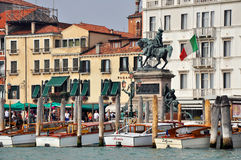 Venetian Promenade with Water Taxis Stock Images