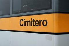 Vaporetto stop `Cimitero` cemetery in Venice, Italy stock images