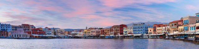 Venetian quay at sunrise, Chania, Crete, Greece Stock Photography