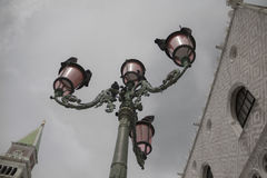 Venetian rose lights. Famous venetian rose lights with pigeons Stock Images