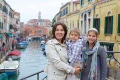 Venetian sikt och familj Arkivbild