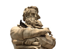 Venetian statue with beard face closeup with dove on hands isola Royalty Free Stock Photo