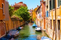 Venetian street scene. Traffic on the chanel Stock Photos