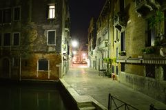 Venetian streets by night Stock Photos