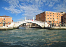 Venetian Style White Stone Bridge over the Grand Canal of Venice Royalty Free Stock Images