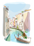 Venetian summer with gondolier illustration Stock Photos