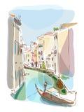 Venetian summer with gondolier illustration Stock Photos