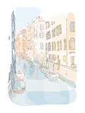 Venetian summer pastel illustration. Travel illustration venetian city landscape Stock Image