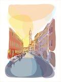 Venetian summer sunrise illustration. Travel illustration venetian city landscape Stock Photos