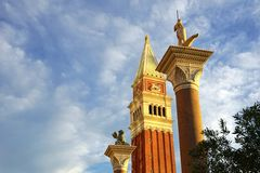 Venetian Sunset. Venetian casino resort landmark in Las Vegas, Nevada. Sunset or sunrise Stock Photos
