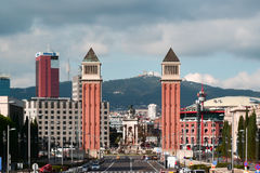 Venetian torn - Barcelona, Spanien Arkivbild