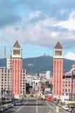 Venetian torn - Barcelona, Spanien Arkivfoto