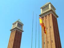 Venetian towers in Barcelona Stock Images