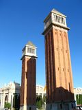 Venetian towers in Barcelona stock photography
