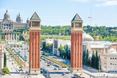 Venetian Towers in Barcelona Stock Photo