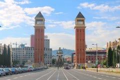 Torres Venecianes or Venetian towers in Barcelona, shoot in June 2018 royalty free stock photos