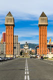 The Venetian Towers at the Espanya Square, Barcelo Stock Photo