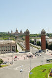 Venetian Towers lead the way to the MNAC Stock Photos