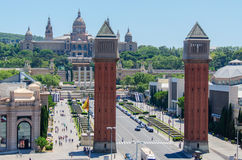 Venetian Towers lead the way to the MNAC Barcelona Spain Stock Image